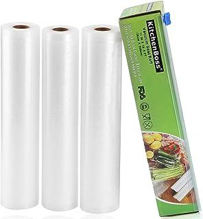 comprar comparacion KitchenBoss Bolsas de Vacío 3 Rolls 28x500cm con Caja de Corte (No Más Tijeras) para Almacenaje de Alimentos,Sous Vide Coc...