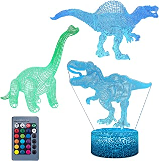 Koyya 3D Dinosaur Night Light - 3D Led Illusion Lamp Three Pattern and 16 Colors Change Decor Lamp with Remote Control for Kids, Dinosaur Gifts for Children,3Pack