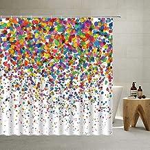 Colorful Shower Curtain Polka Dot Geometric Patterns Gradient Rainbow Fashion Girl Fun Design Wedding Birthday Party, Poly...