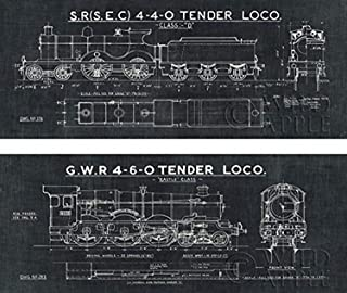 Buyartforless Train Blueprint II & III Set (in Black) 20x8 Art Print Poster Locomotive Illustration Drawing
