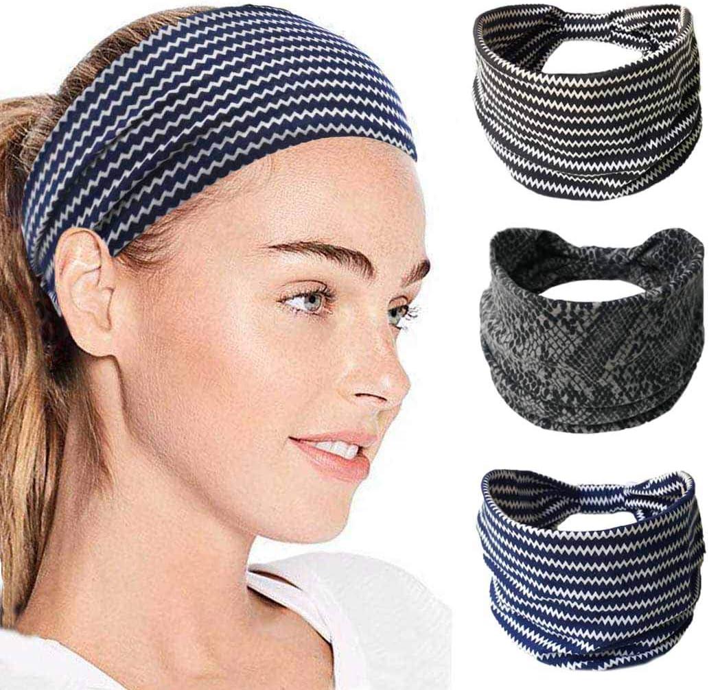 IYOU Diademas de moda Envolturas de cabeza con estampado de leopardo Bandas anchas de algod/ón Bufanda deportiva con cabeza el/ástica para mujeres y ni/ñas paquete de 3