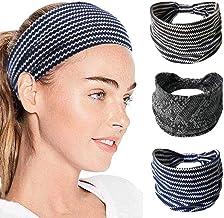 IYOU Sport Hoofdbanden Yoga Geknoopte Haarbanden Blauw Zweetband Polyester Brede Hoofdband voor Vrouwen en Meisjes (pak va...