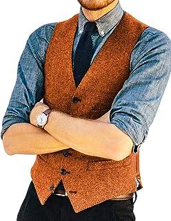 Mens Classic Henringbone Pattern Suit Vest V Neck Slim Fit Waistcoat for Wedding Groomsmen