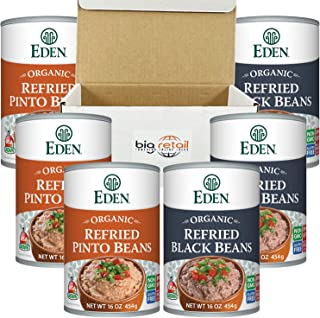 Eden Refried Beans Traditional Pinto Beans and Black Refried beans pack of 6