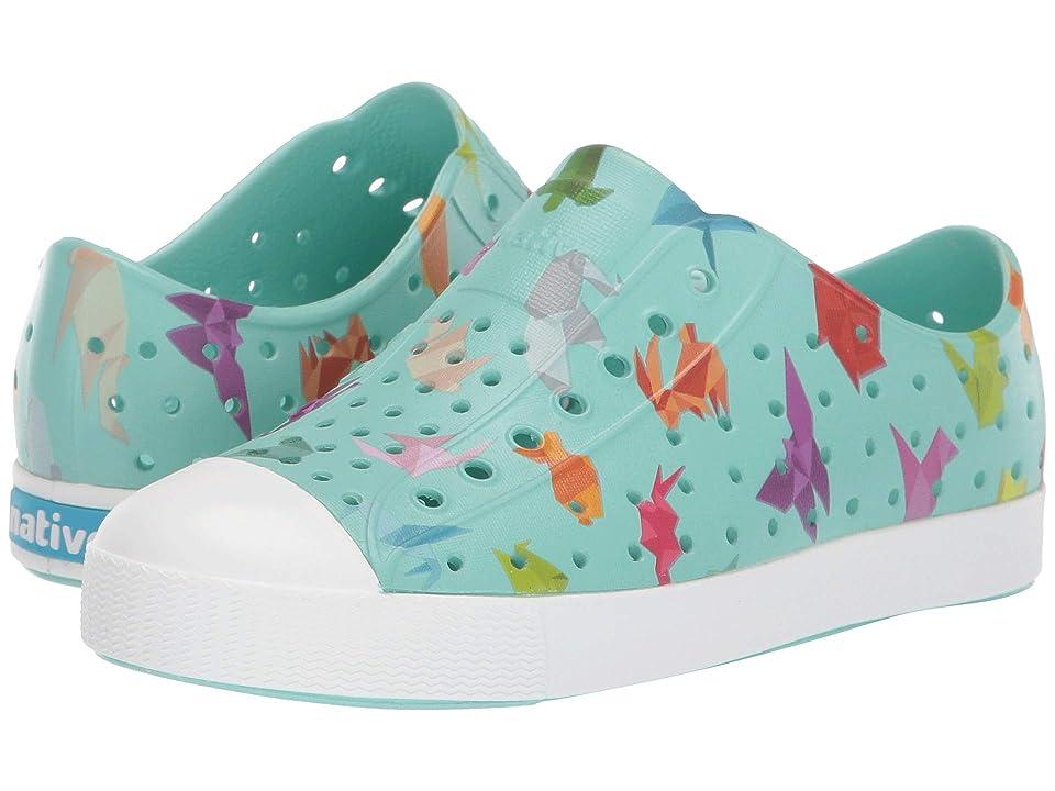 Native Kids Shoes Jefferson Print (Little Kid) (Hydrangea Blue/Shell White/Origami) Kids Shoes