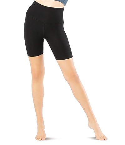 Beyond Yoga Heather Rib High Waisted Biker Shorts (Black Heather) Women