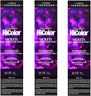 L'Oreal Excellence HiColor H19 True Violet Permanent Hair Tint HC-30651 (3 Pack)