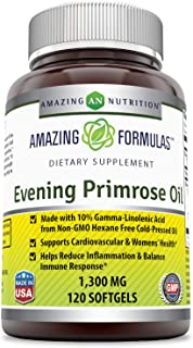 Amazing Formulas Evening Primrose Oil 1300 Mg 120 Softgels - High Potency- Made with 10% Gamma Linoleic from Non-GMO Hexan...