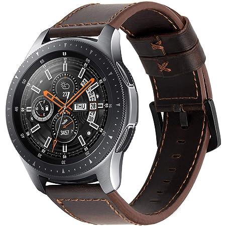 iBazal 22mm Bracelet Cuir Bandes Compatible avec Samsung Galaxy Watch 3 45mm/Gear S3 Frontier Classic,Galaxy Watch 46mm Bands Straps Remplacement pour Huawei GT/2 Classic,TicWatch Pro Hommes - Café