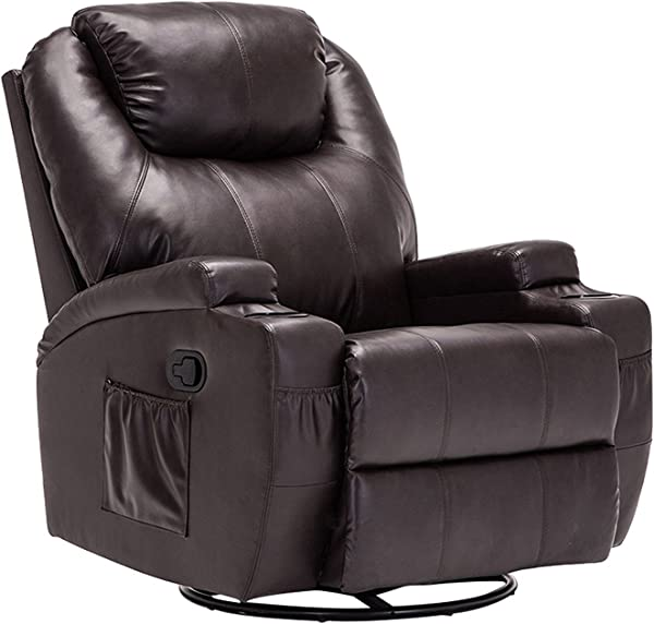 Windaze Manual Recliner Chair 360 Degree Swivel Heated Recliner Rocking Chair Sofa Chair With Motors Massage Brown