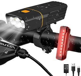 AlpsWolf LED Bike Lights Headlight and Back Light, Rechargeable Bicycle Light Set 2400 mAh Power Bank, 800LM, 3+5 Light Mo...