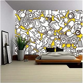 wall26 - Vector Graffiti Urban Pattern - Canvas Art Wall Decor - 100x144 in