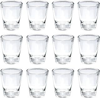 Thirsty Rhino Karan, Round 1.5 oz Shot Glass with Heavy Base, Clear Glass, Set of 12
