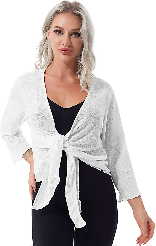 YiZYiF Womens Long Sleeve Sheer Shrug Tie Top Open Front Lightweight Knit Cardigan