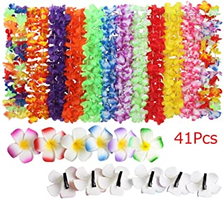 Fighting to Achieve Hawaiian Flowers Necklaces Wreaths(36Pcs) Hair Clips(5Pcs) for Holiday Beach Party Decorations