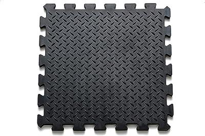 Mats Inc. Alfombrillas de Goma para Piso, 39,4 x 39,4 Pulgadas, Color Negro