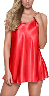 RSLOVE Women's Pajamas Satin Lingerie Nightgown Spaghetti Strap Sleepwear Slik Chemise Mini Slip Short Nightwear