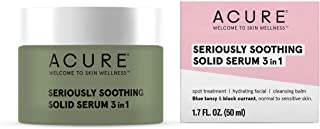 ACURE Seriously Soothing Solid Serum 3 in 1 | 100% Vegan | For Dry to Sensitive Skin | Blue Tansy & Black Currant | Multi-Functional - Spot Treatment, Hydrating Facial & Cleansing Balm | 1.7 Fl Oz