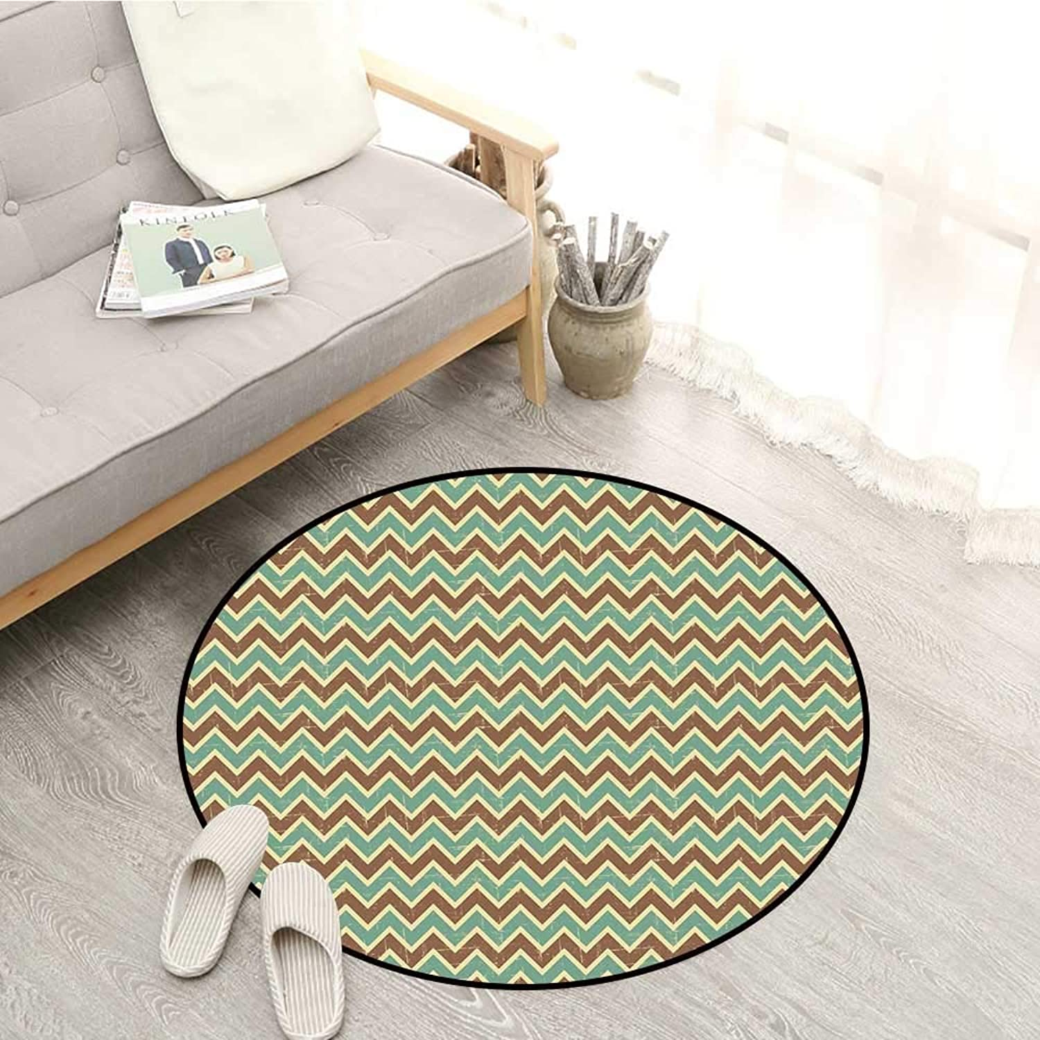 Brown and bluee Living Room Round Rugs Chevron Zigzags Herringbone Pattern with Vintage Worn Look Design Sofa Coffee Table Mat 4'3  Seafoam Yellow Brown