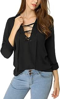 Women's Chiffon Blouse Top Plunge Deep V Neck Long Sleeve Lace Up Shirt