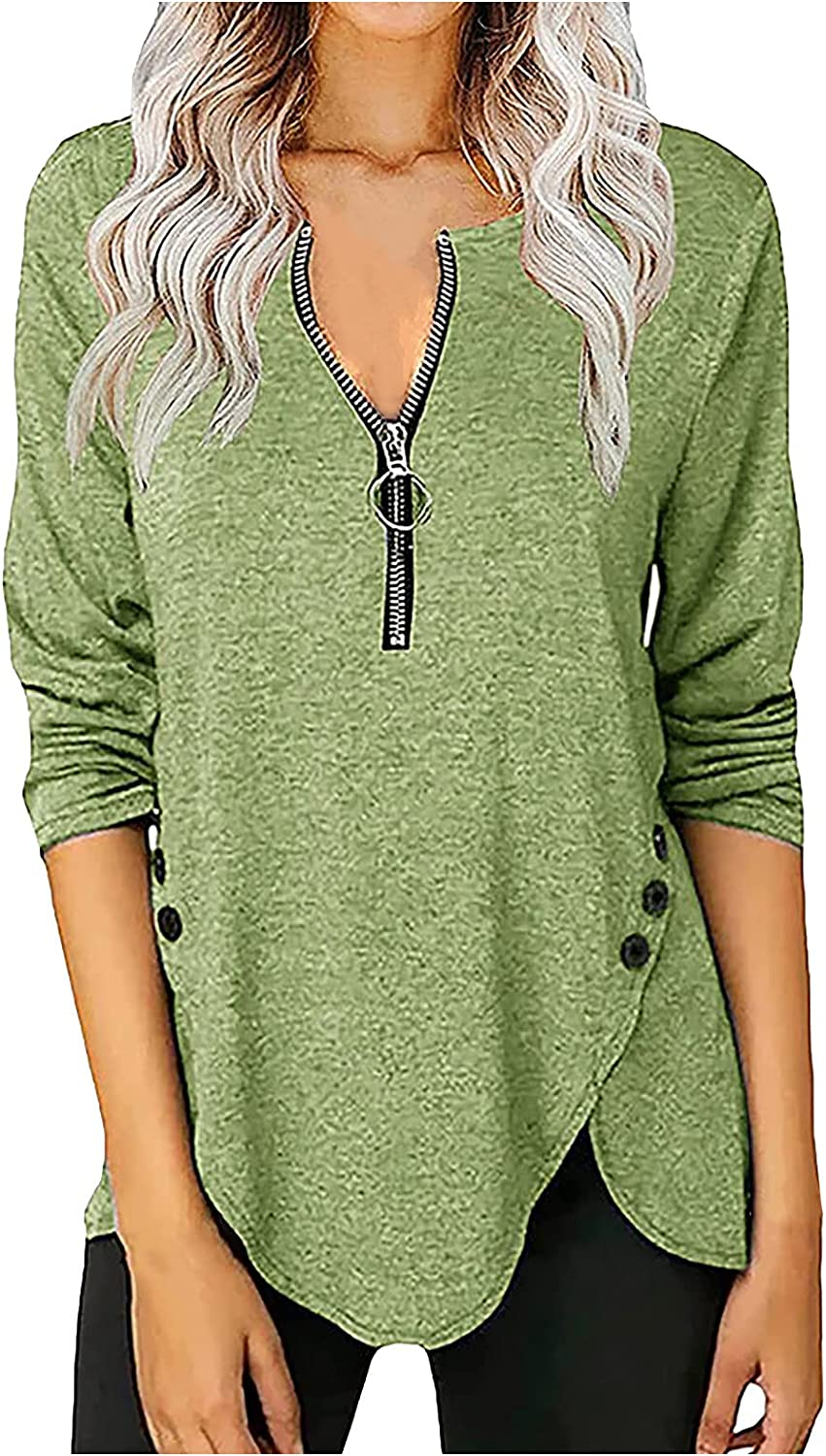 VonVonCo Pullover Sweaters for Women Pure Casual Zipper Long-Sleeved Sweatshirts V-Neck Button T-Shirt Top