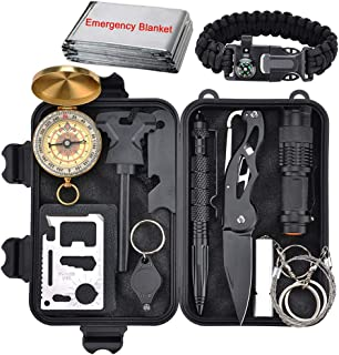 XUANLAN Emergency Survival Kit 13 in 1, Outdoor Survival Gear Tool with Survival Bracelet, Fire Starter, Whistle, Wood Cutter, Water Bottle Clip, Tactical Pen