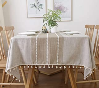 famibay Square Decoration Tablecloth 55x55 Cotton Linen Elegant Table Cloth with Tassel Edge Dust-Proof Washable Kitchen Table Cover for Dining Table (Linen)