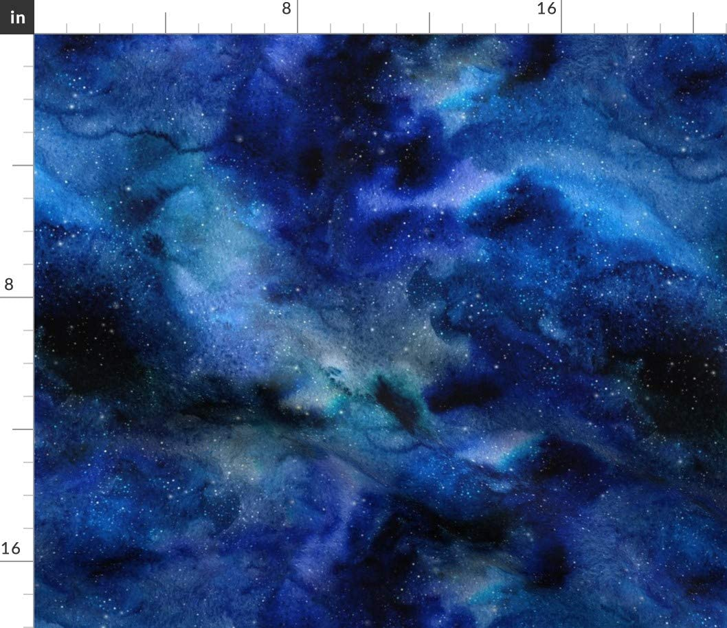 Spoonflower Fabric - Space Galaxy Watercolor Beauty products Indefinitely Nig Blue Black