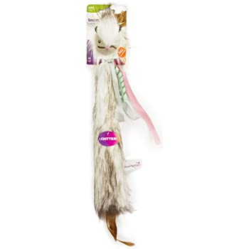 SmartyKat, Chitter Critter Squirrel, Electronic Sound Cat Toy, Soft Plush, Lightweight, Extra-Long, with Burlap, Feathers and Ribbons