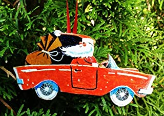 Santa Driving Car Ornament, Handcrafted Wood, Christmas Mid-Century Modern, 1950s Decor, Sports Car, MG, Porsche Grab Bag Gift, Husband Gift
