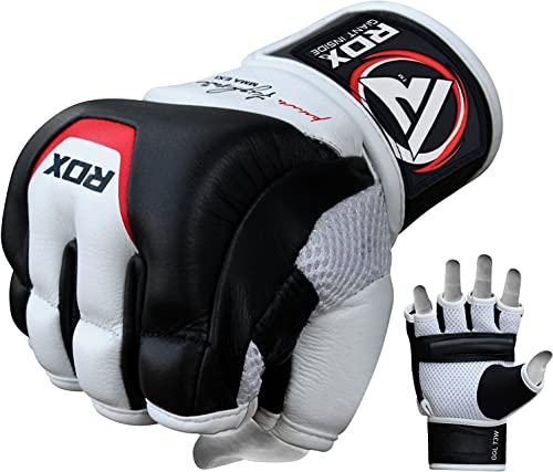 RDX MMA Gloves for Martial Arts Training and Sparring, Cowhide Leather Mitts for Grappling, Kickboxing, Muay Thai, Pu...