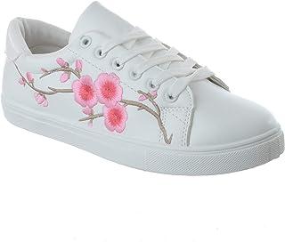 1c121eca mujer flores bordadas Bajo Planos Con Cordones Zapatillas Mujer Zapatillas  Zapatillas Deportivas Talla