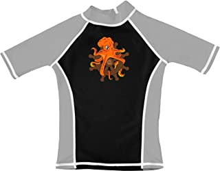 grUVywear Boys Rash Guard Short Sleeve UV Sun Protection Surf Swim Shirt UPF 50+