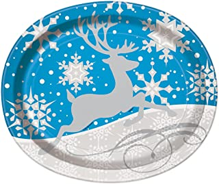 Silver Snowflake Christmas Oval Paper Plates, 8ct