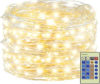 Decute 300 LED Fairy Lights 99ft Silver Wire Warm String Lights Remote Control, LED Firefly Lights Twinkle Starry Light for DIY Christmas Tree Costume Wedding Party Table Centerpiece Decor, Warm Whit
