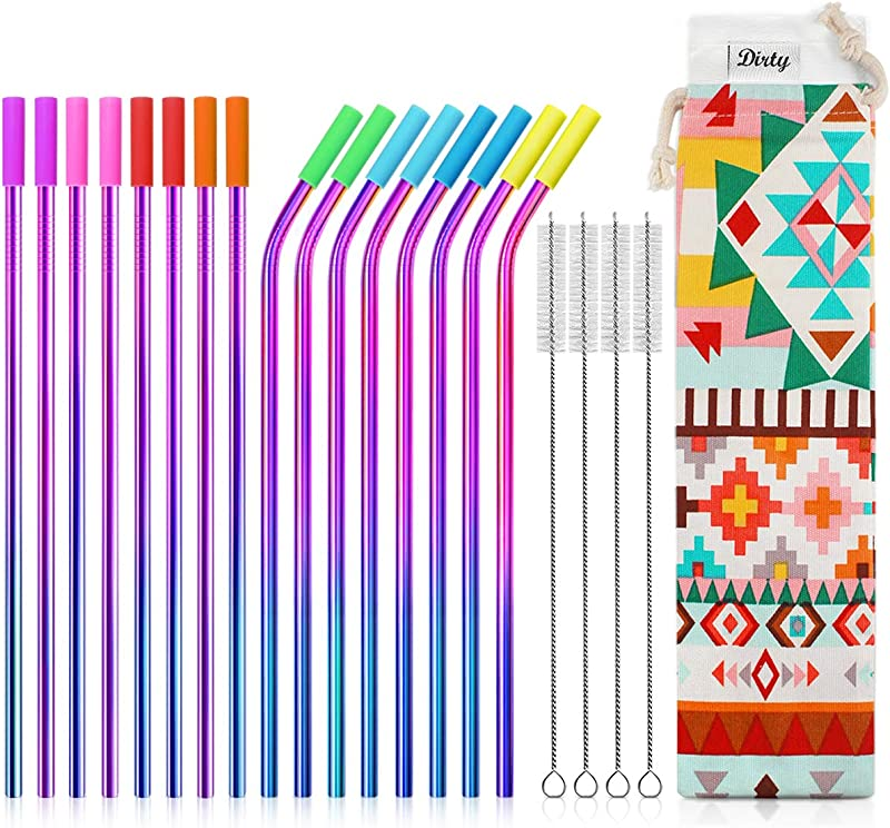 Teivio Set Of 16 Stainless Steel Straws With Carry Bag FDA Approved Drinking Metal Reusable Straws With Cleaning Brush And Silicone Tips And Case For 30 Oz Multicolor Rainbow