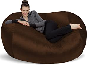 Sofa Sack - Plush Bean Bag Sofas with Super Soft Microsuede Cover - XL Memory Foam Stuffed Lounger Chairs for Kids, Adults, Couples - Jumbo Bean Bag Chair Furniture - Chocolate 6'