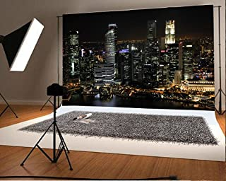 7X5FT Laeacco Vinyl Thin Photography Background Aerial View Famous Big City Night View Theme Backdrop for Photo Studio Props