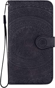 Reevermap iPhone Xs iPhone Case Leather  Protective Wallet Flip Embossed Mandala Premium Kickstand Magnetic Buckle Notebook Cover for iPhone Xs iPhone Black