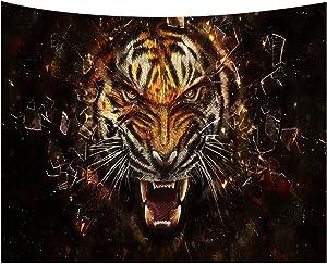 HOTNIU 3D Tiger Tapestry Wall Hanging - Wild Tiger Roaring 3D Art Print Tapestry Decor - Wall Hanging Home Decor for Living Room Bedroom Dorm Room (Pattern #14, 150x230cm)