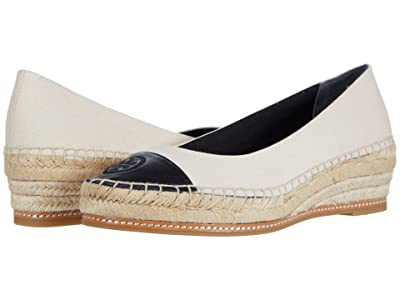 Tory Burch Color-Blocked 50 mm Espadrille (Cream/Perfect Black) Women