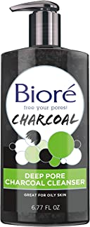 Bioré Deep Pore Charcoal Face Wash, Facial Cleanser for Dirt and Makeup Removal From Oily Skin, 6.77 Ounce