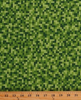 Cotton Bitmap Pixels Digital Building Blocks Squares Gamer Video Games Green Cotton Fabric Print by the Yard (cx7029-gree-d)