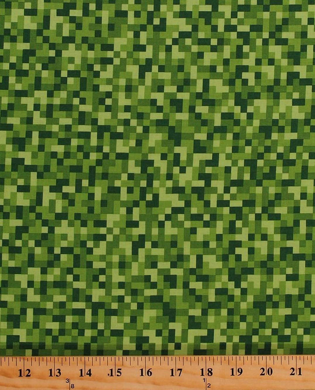 Cotton Bitmap Pixels Digital Building Blocks Squares Gamer Video Games Green Cotton Fabric Print by the Yard (cx7029-gree-d)