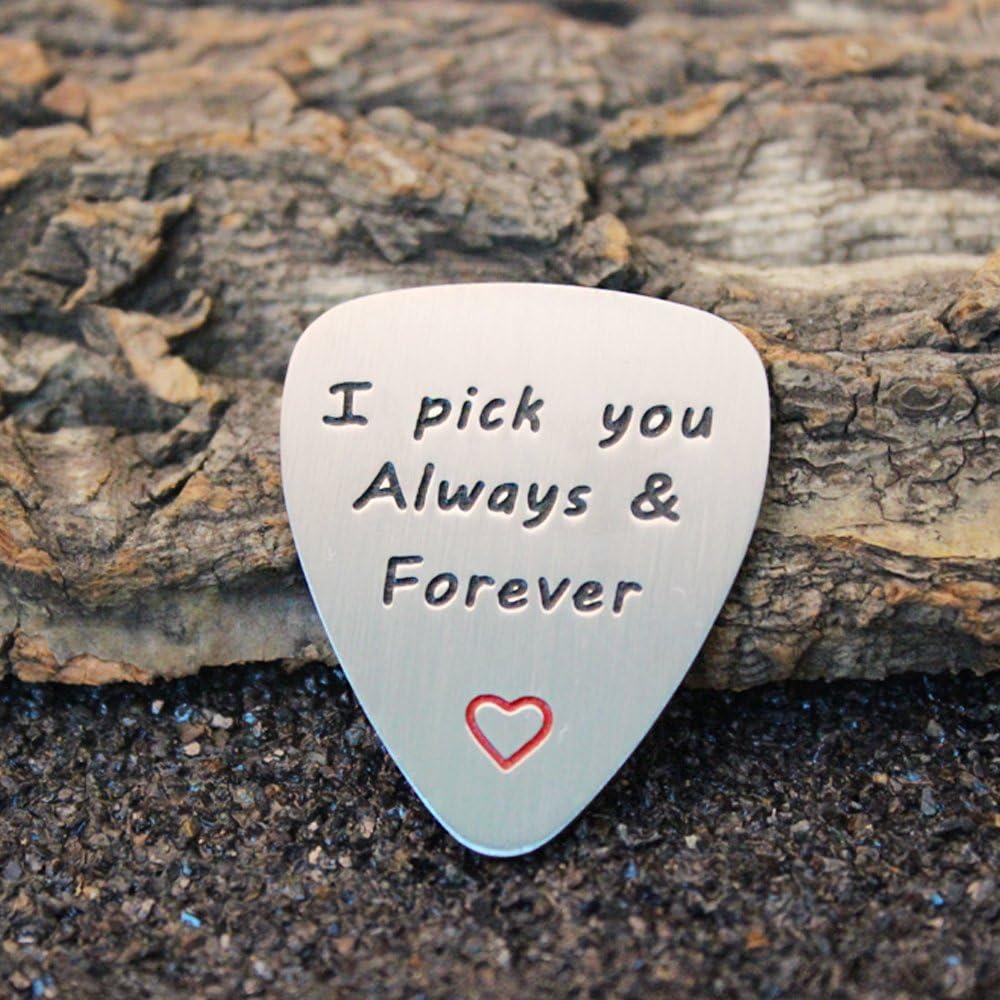 Cadeau de mariage Unisexe M/édiator de guitare /« I Pick You Always /& Forever /» en acier inoxydable Saint-Valentin