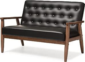 Baxton Studio Sorrento Mid-Century Retro Modern Faux Leather Upholstered Wooden 2-Seater Loveseat, Black
