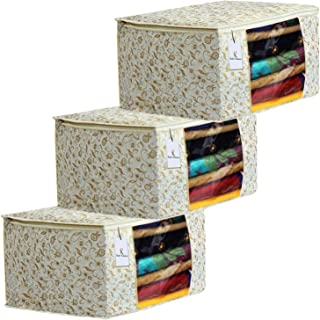 Kuber Industries Metalic Printed 3 Piece Non Woven Fabric Saree Cover Set with Transparent Window, Extra Large, Brown-CTKTC31888