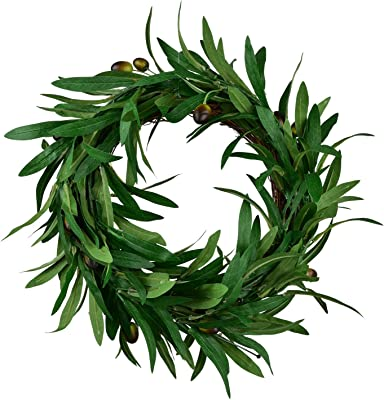 """LSKYTOP 12"""" Artificial Olive Wreath Green Leaves Wreath for Wall Window Home Decoration"""