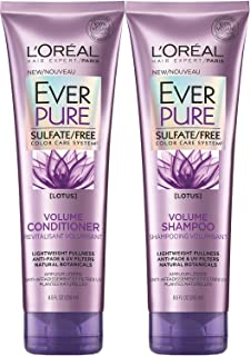 L'Oreal Paris EverPure Sulfate-Free Color Care System Volume Shampoo & Conditioner with lotus, 8.5 Ounce Each (lotus)