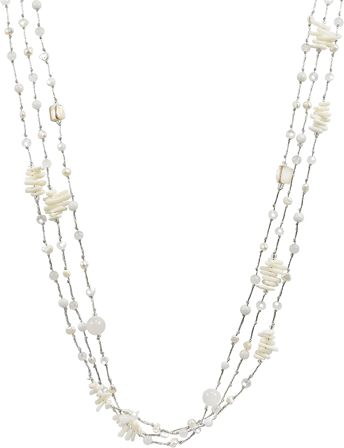 Ethereal Beauty Long Multi-Strand Necklace Stones Max 76% OFF Mixed Max 41% OFF White